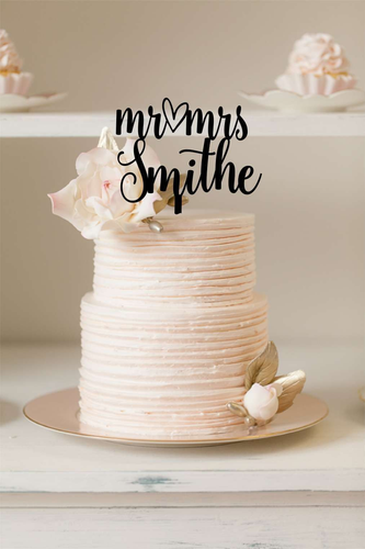 Cake Topper - Mr & Mrs Surname with cute heart - Silver Belle Design