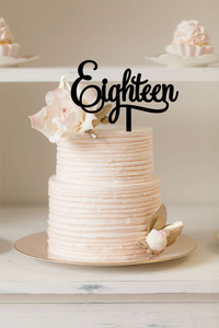 Cake Topper - Eighteen - Silver Belle Design
