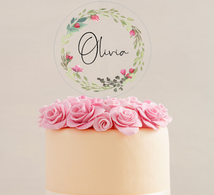Clear Acrylic Printed Disc Cake Topper