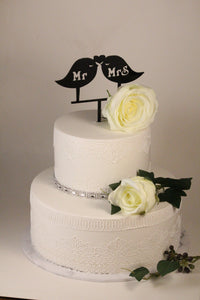 Cake Topper - Birds with Mr & Mrs - Silver Belle Design