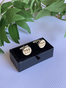 Laser Cut Timber Engraved Personalised Cufflinks - Silver Belle Design