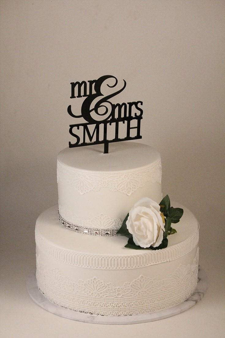 Cake Topper - Mr & Mrs Smith - Silver Belle Design