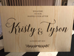 Sign - Welcome to our Happily Ever After Sign - Silver Belle Design