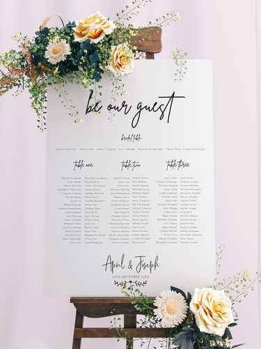 Table Seating Plan - Be Our Guest Modern Script Design - Silver Belle Design