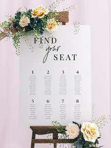 Table Seating Plan - Find Your Seat Modern Script Design - Silver Belle Design