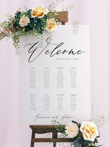 Table Seating Plan - Genevieve Modern Script Design - Silver Belle Design