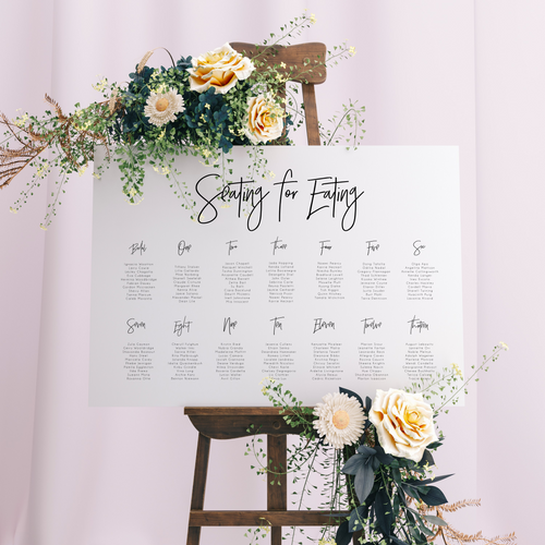Table Seating Plan - Seating For Eating Modern Script Design - Silver Belle Design