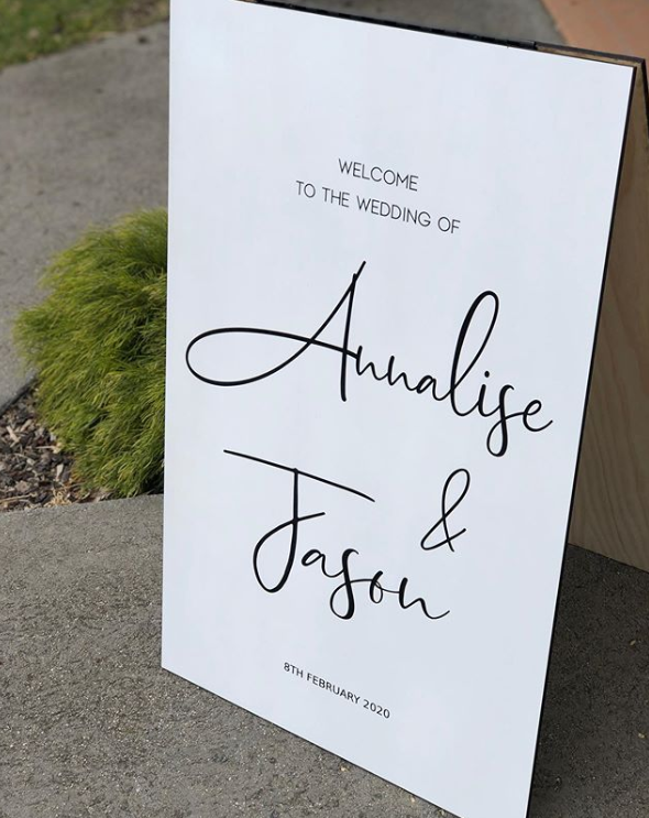 Wooden A-Frame Rustic Sign - Annalise - Silver Belle Design