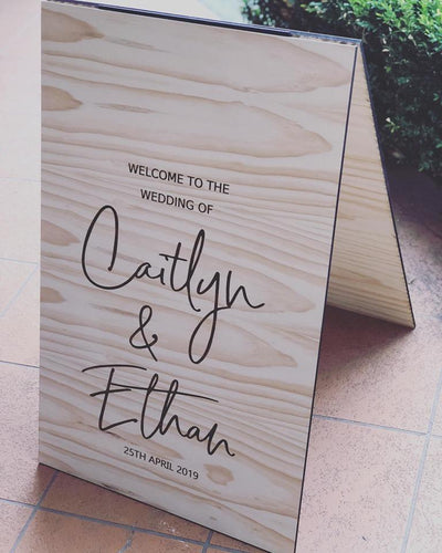 Wooden A-Frame Rustic Sign - Caitlyn Custom