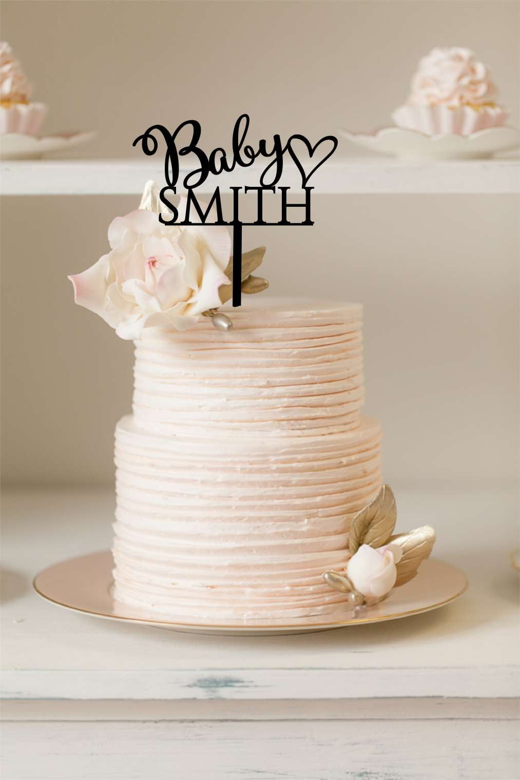 Cake Topper - Personalised Baby Shower - Silver Belle Design
