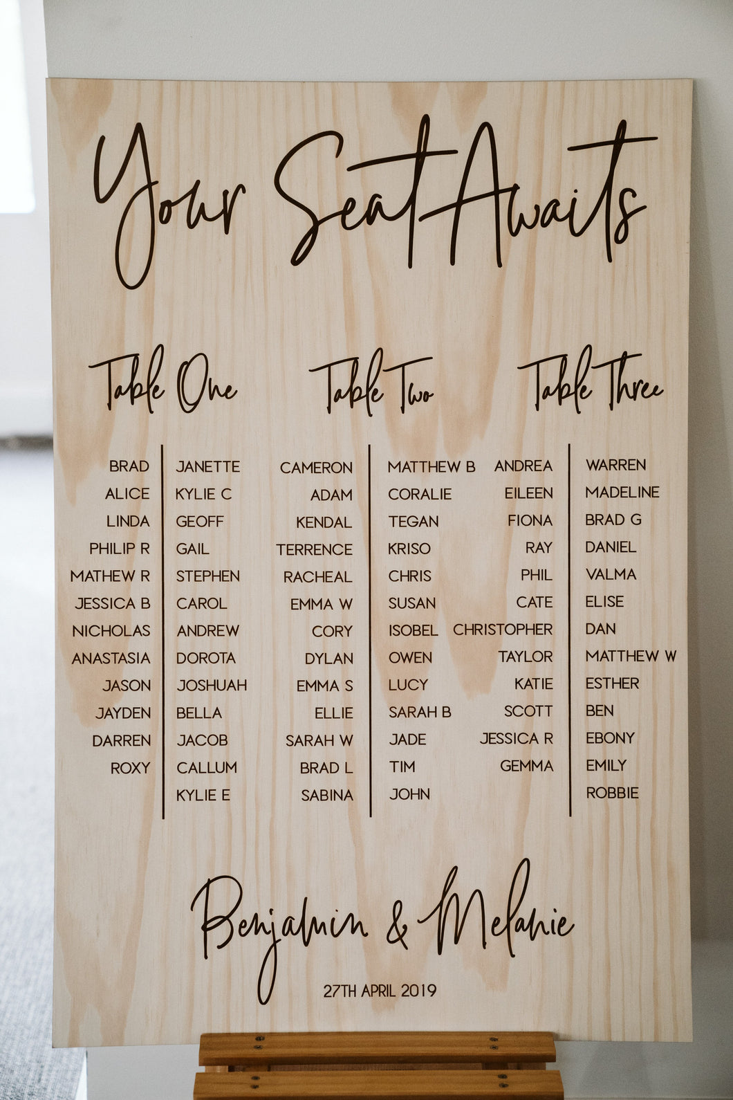 Wooden Table Seating Plan Signs - Melanie Custom Sign