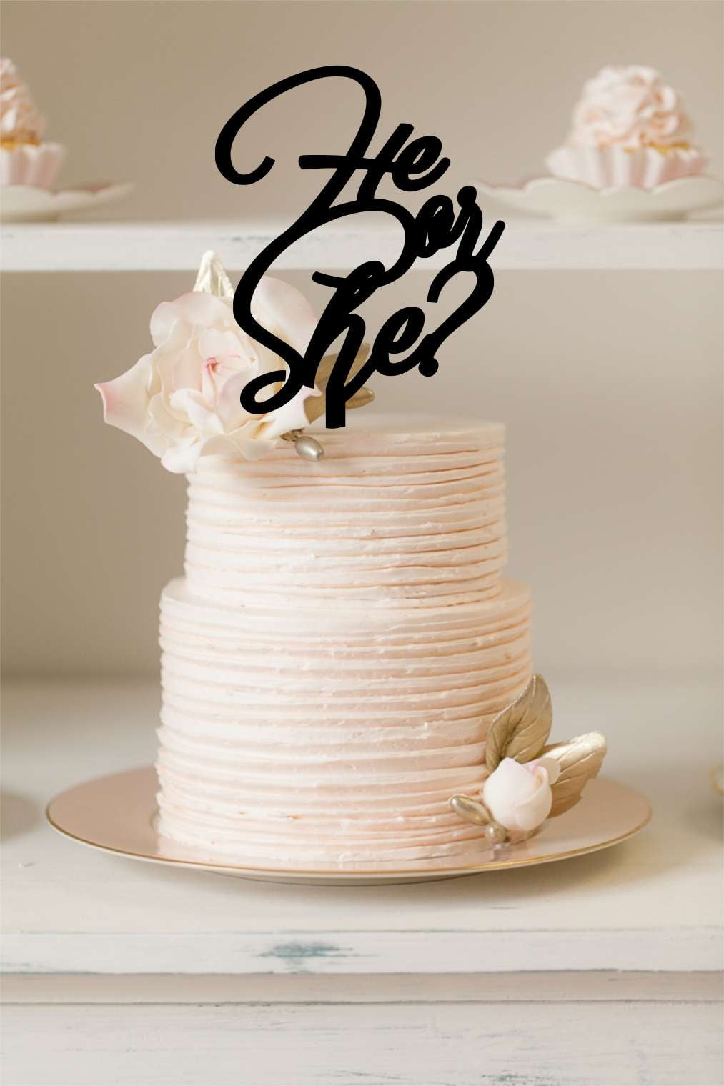 Cake Topper - He or She Topper - Silver Belle Design