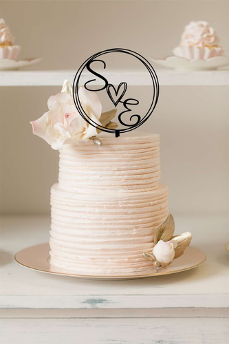 Cake Topper - Circle Wreath with cute heart - Silver Belle Design