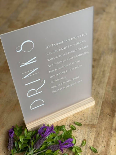 A5 Acrylic Table Sign - Small Drinks Menu - Silver Belle Design