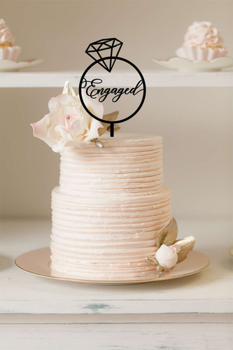 Cake Topper - Engaged Diamond Ring - Silver Belle Design