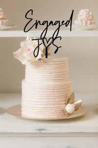 Cake Topper - Engaged Heart w Initials - Silver Belle Design