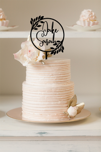 Cake Topper - Engaged Wreath with Names
