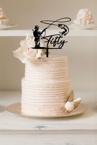 Cake Topper - Fly Fishing - Silver Belle Design