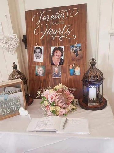 Timber Memorial Sign - Extra Large A1 Size - Silver Belle Design