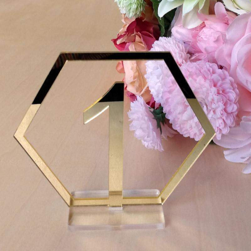 Gold Mirror Hexagon Acrylic Table Numbers - Silver Belle Design