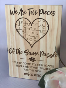 Wedding Guestbook Puzzle Sign - Silver Belle Design