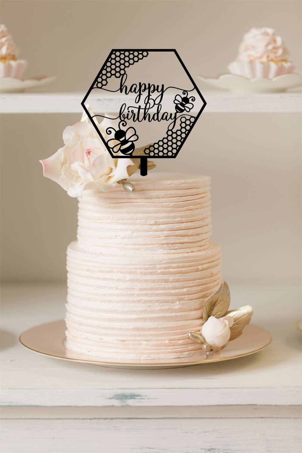 Cake Topper - Happy Birthday Bees - Silver Belle Design