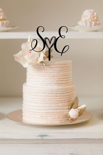 Cake Topper - Initials with cute heart - Silver Belle Design