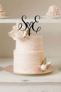 Cake Topper - Initials With Cute Heart