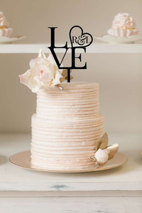 Cake Topper - Love + Initials - Silver Belle Design