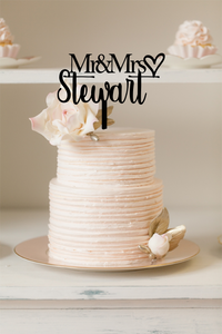 Cake Topper - Mr & Mrs Block Font + Script - Silver Belle Design