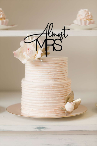 Cake Topper - Almost Mrs - Silver Belle Design
