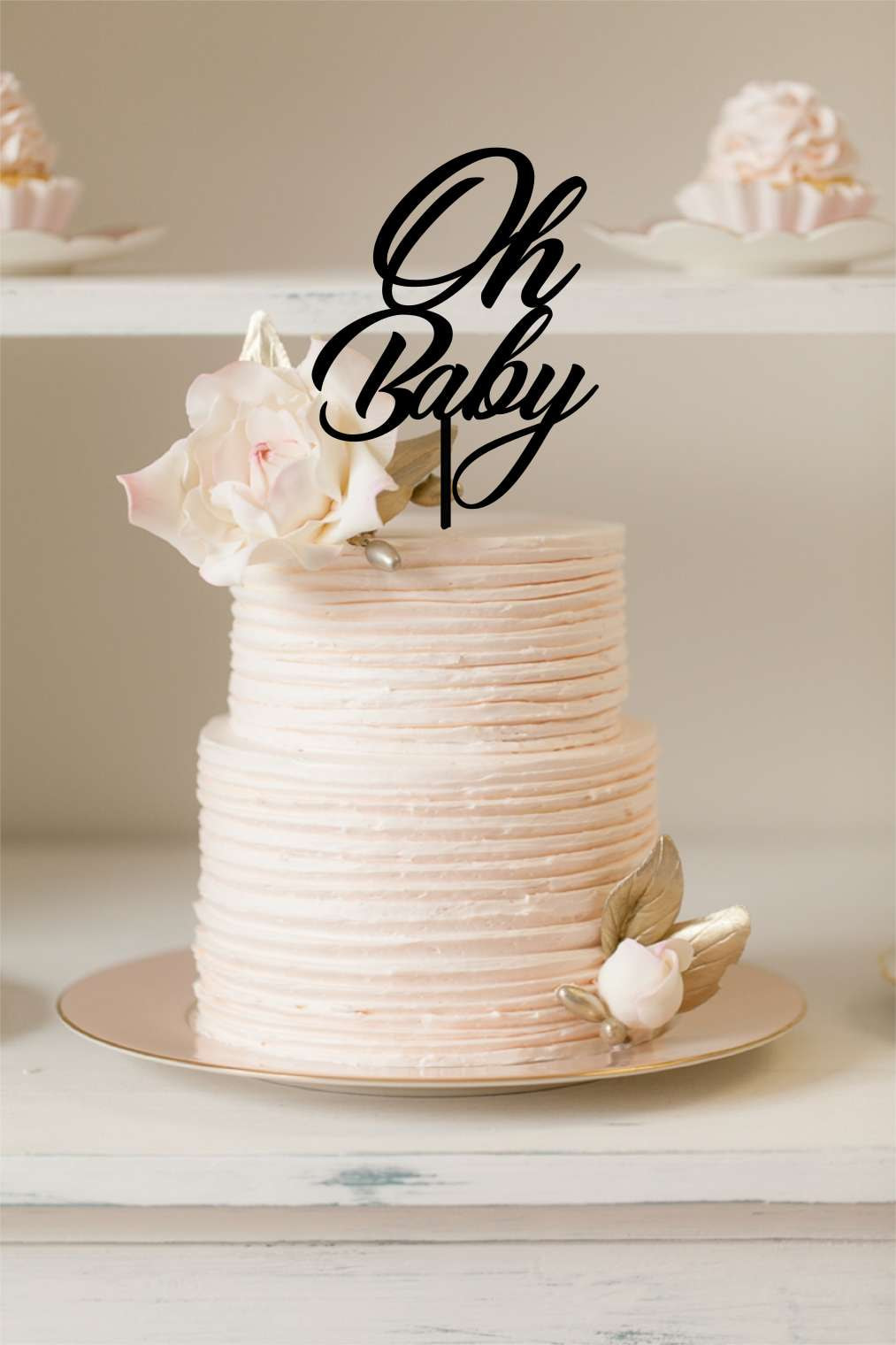 Cake Topper - Oh Baby - Silver Belle Design