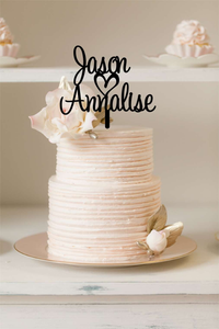 Cake Topper - Script Custom Names with Heart - Silver Belle Design