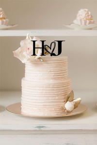 Cake Topper - Serif Font With Cute Heart