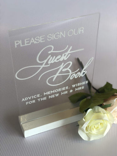 A5 Acrylic Table Sign - Sign Our Guestbook - Silver Belle Design