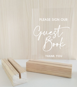 A5 Acrylic Table Sign - Simple Guest Book - Silver Belle Design