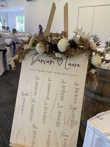 Table Seating Plan Sign - Laura Modern Script Sign - Silver Belle Design