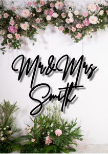 Script Wedding Sign Mr & Mrs - Silver Belle Design