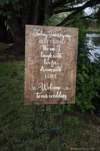 Wooden Welcome Sign - 'Today I Marry My Best Friend' - Silver Belle Design