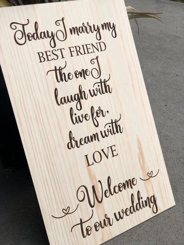 Wedding Sign - Today I Marry My Best Friend - Silver Belle Design