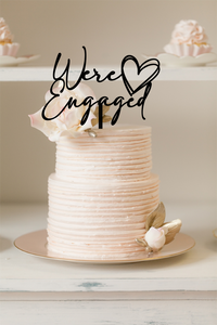 Cake Topper - We're Engaged Heart - Silver Belle Design