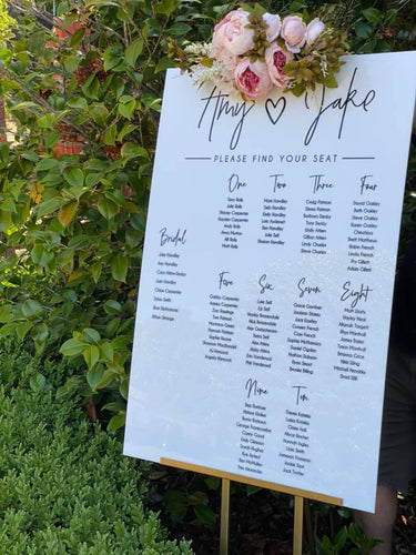 Table Seating Plan Sign - Amy Modern Script Sign - Silver Belle Design