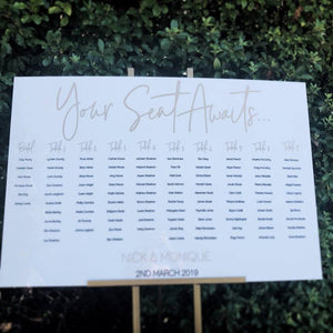 Acrylic Table Seating Plan - Silver Belle Design