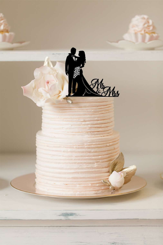 Cake Topper - Mr & Mrs - Silver Belle Design