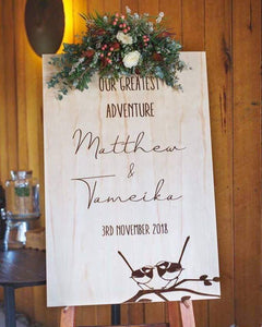 Timber Welcome Sign - Natural - Silver Belle Design
