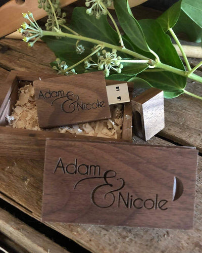 Timber Engraved USB - Silver Belle Design