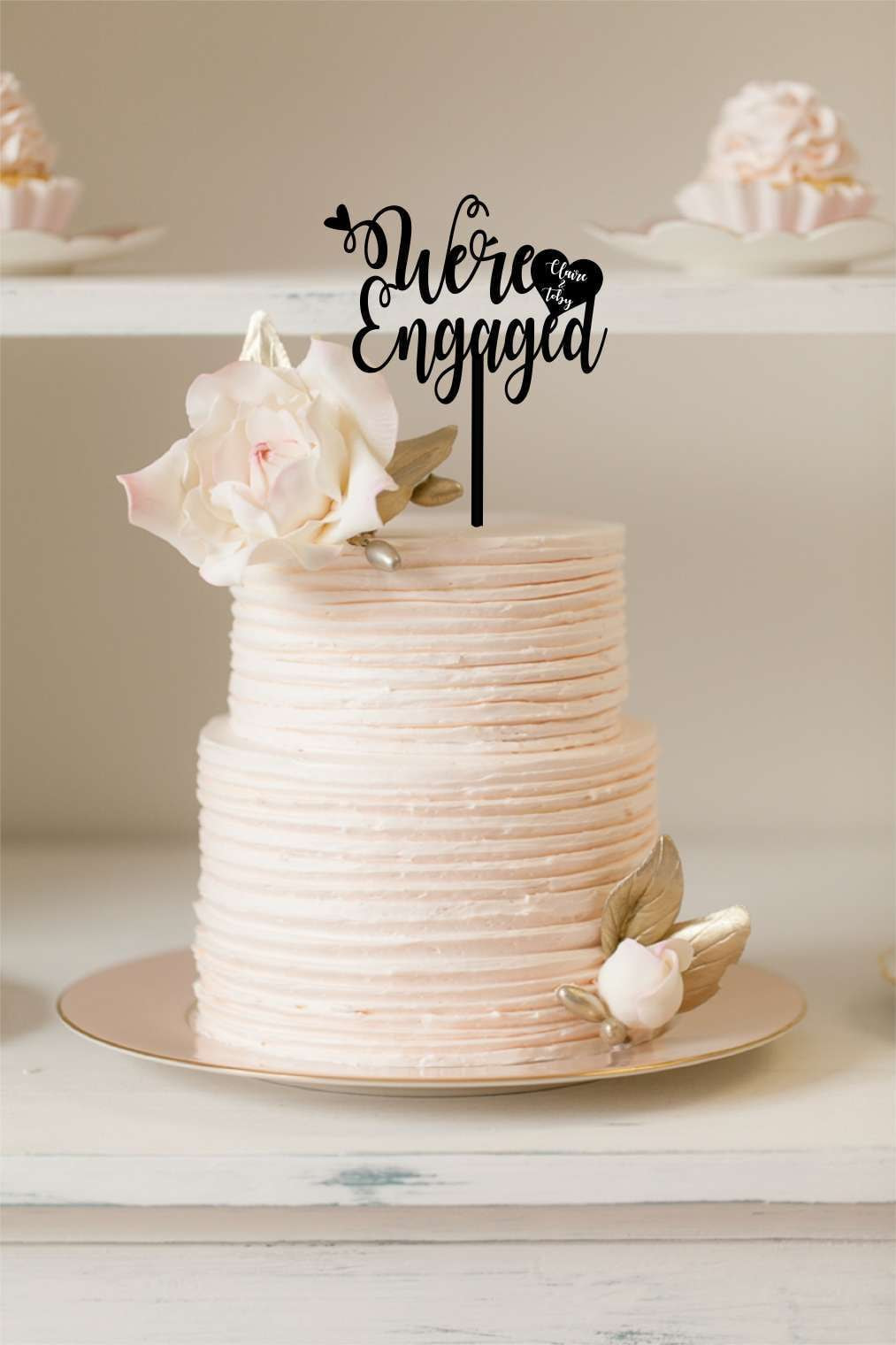 Cake Topper - We're Engaged - Silver Belle Design