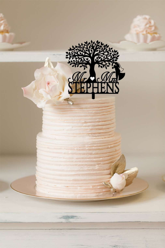 Cake Topper Mr & Mrs + Tree with Bride and Groom - Silver Belle Design