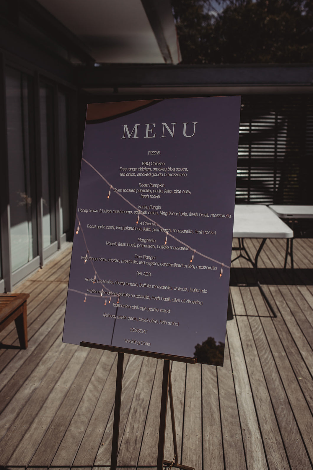 Acrylic Menu Sign