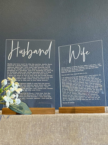 Vow Signs - Husband / Wife / Kids - Silver Belle Design